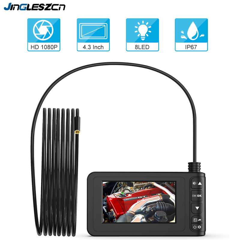 1080P HD Digital Endoscope Camera  4.3 Inch LCD 4cm-5m Focal Distance Snake Camera 1700mAh Video Inspection Camera With 8 Led