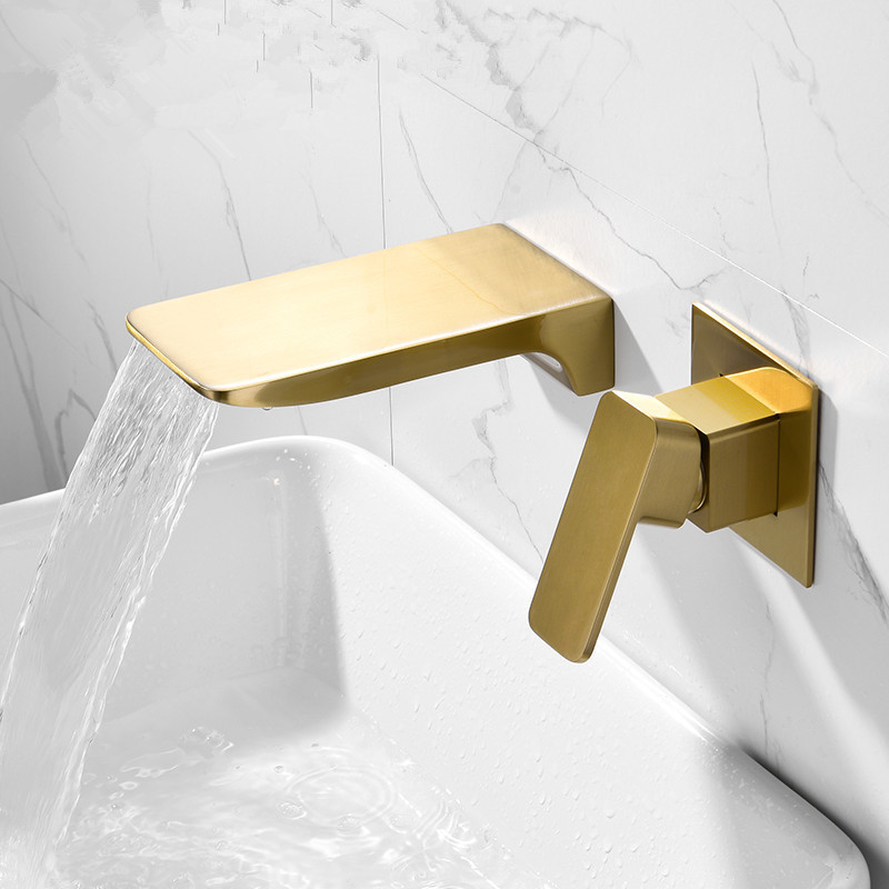 Basin Faucet Wall Mounted Brushed Gold Bathroom Sink Faucet In-Wall Black Waterfall Tap Basin Mixer Tap Set Combination Blanoir