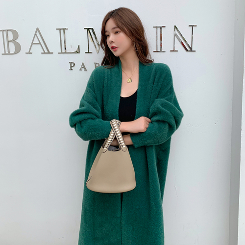 Autumn And Winter Green Cardigan Knitted Sweater   Trench   Coat For Women Windbreaker Casual Overcoat Open Stitch Coat Female