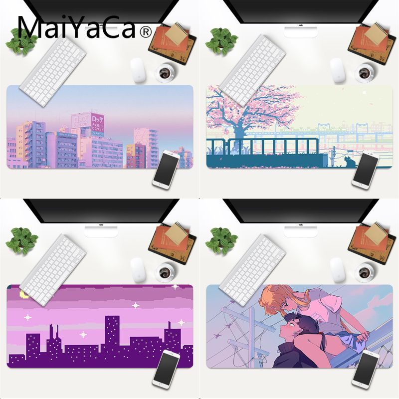 Sailor Moon Pink Aesthetic Art Pixel Anime Mouse Mat XXL Mouse Pad anime Laptop Desk Mat pc gamer completo for Christmas present