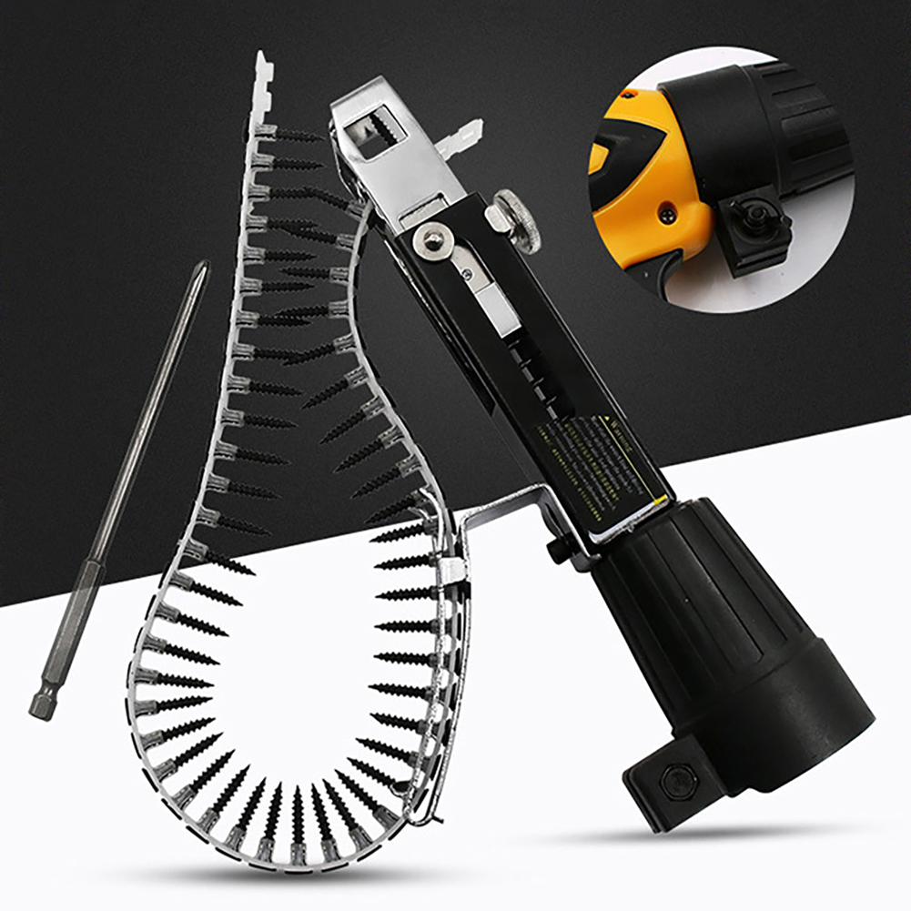 Automatic nail gun Automatic Chain Nail Gun Adapter Screw Gun for Electric Drill Woodworking Tools Cordless Power Drill Attachme