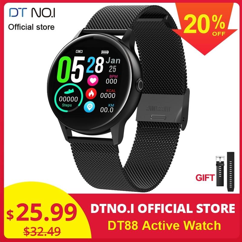 DTNO. I DT N ° 1 DT88 Smartwatch Relógio Inteligente Tela de Toque Rodada Freqüência Cardíaca Inteligente Rastreador De Fitness Esportes Relógio de Moda VS q8