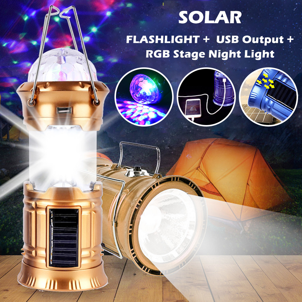 Stage Light 6LED Portable Camping Emergency Lamp 3 Modes USB//Direct Charge Disco