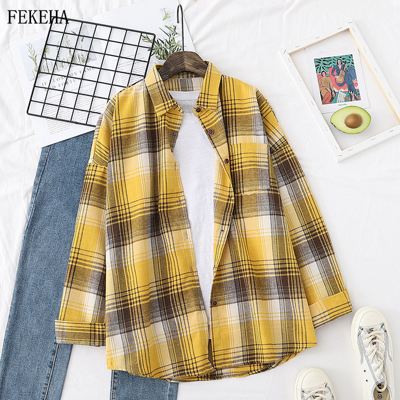 Womens Plaid Shirts Casual Tops And Blouse Loose Spring New Thin Lady Checked Shirt Single Packet Oversized Summer Outwear
