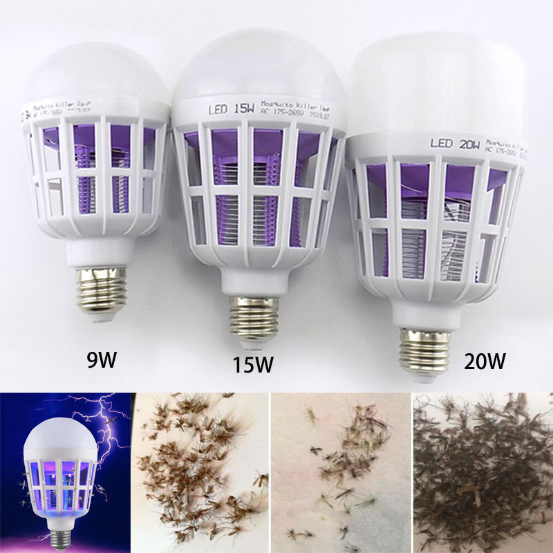 9W/15W/20W LED Mosquito Killer Bulb 2 In 1 LED Bulb Light E27 For Indoor Home Anti Mosquito Repellent Bug Zapper AC 175~220V