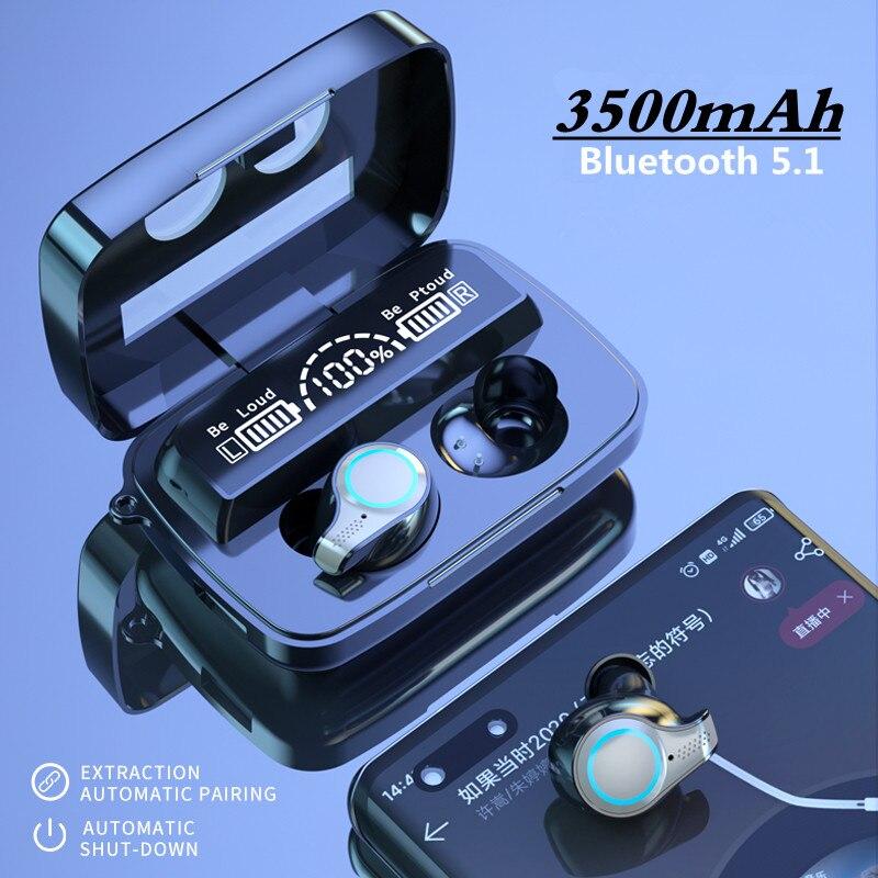 TWS-стереонаушники с зарядным футляром и поддержкой Bluetooth 5,1, 3500 мА · ч