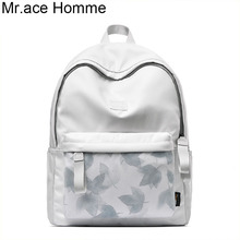 Brand White Printing Backpack Women 14 Inch Laptop College Bag