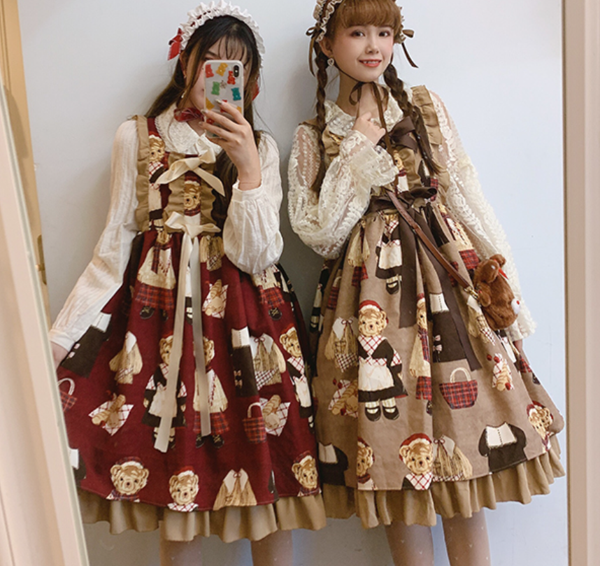 Teddy bear printing lolita jsk dress princess loli sweet lovely lolita Japanese kawaii palace girl  bowknot Ruffle tea party