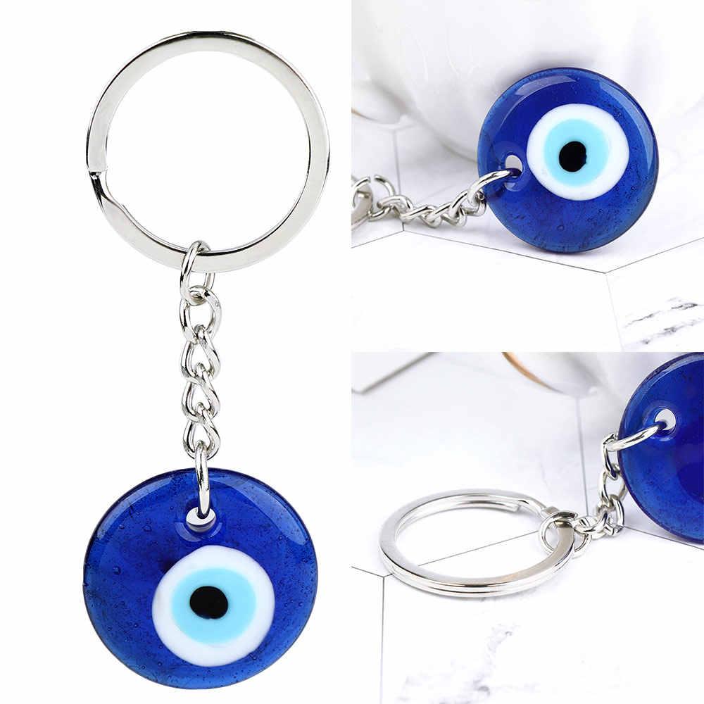 ตุรกีสีฟ้าพวงกุญแจคีย์โซ่ผู้ถือแหวนพระเครื่อง Lucky Charms แขวนจี้สำหรับหญิงชาย Blessing ป้องกัน