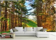 Custom mural 3d wall mural on the wall Modern natural forest scenery home decor photo wallpaper in the living room(China)