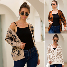Womens Short Sweater Cardigan Button Autumn and Winter V-neck Long Sleeve Casual