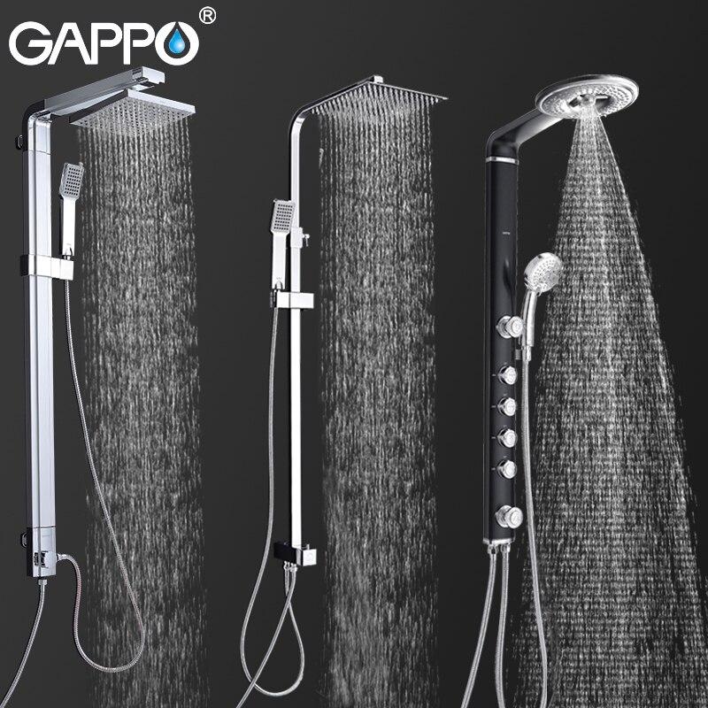 GAPPO Sistema de Chuveiro Torneiras Banho de Chuveiro Montado Na Parede Do Banheiro Torneira Torneira Misturadora Set Rain Shower Cachoeira Painel ABS Massagem