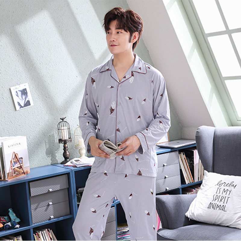 Pajamas Nightwear Sleepwear Male Winter Plus-Size Young Casual Man Men