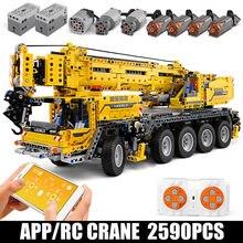 Caminhão de controle remoto técnica modelo brinquedos motor energia guindaste móvel conjuntos blocos de construção tijolos crianças brinquedos presentes natal