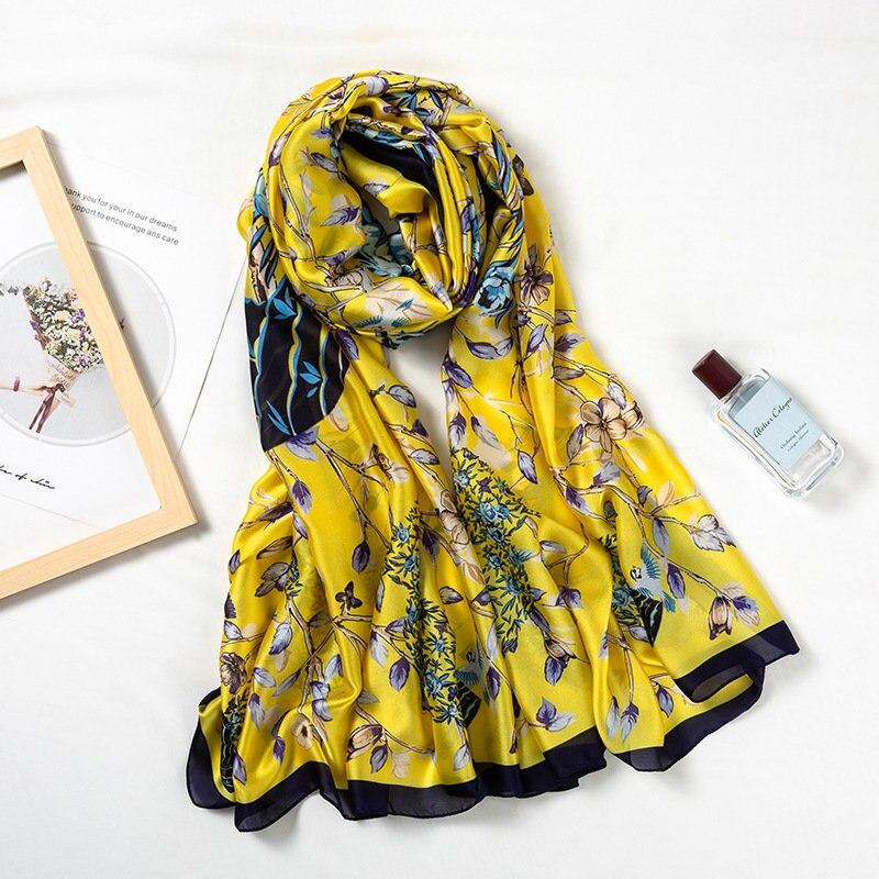 2019 Style Spring And Summer China Good Silk Scarf Women Office Large Shawls Fashion Print Lady Hair Neck Beach Hijabs Foulard