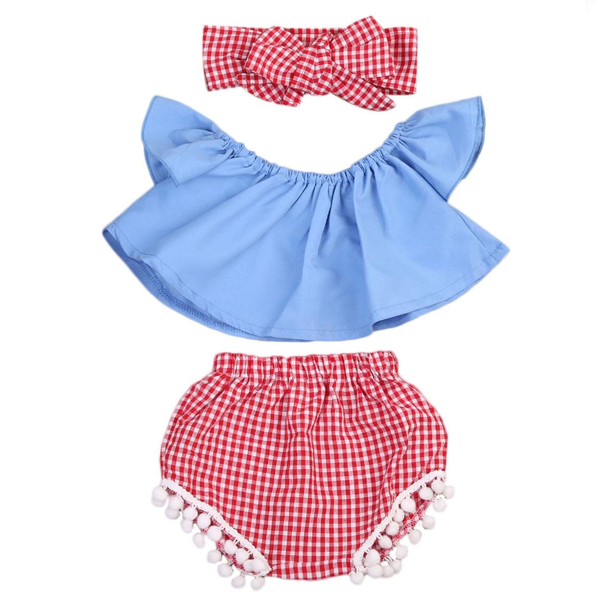 ¡Traje de 3 uds.! Camiseta de bebé pequeño + Pantalones cortos conjunto superior hombro de la muchacha + conjunto de estilo de la ropa de la banda del pelo 2