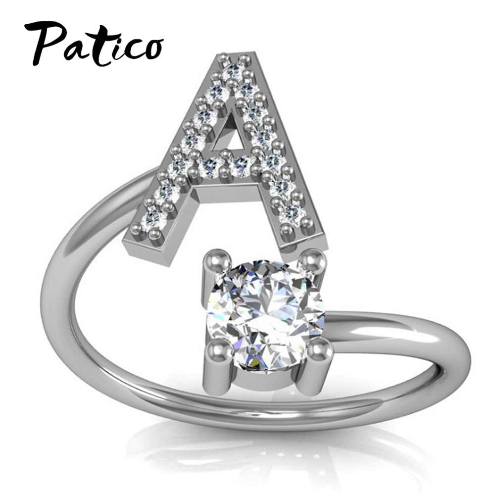 Lovely 925 Sterling Silver Jewelry Rings For Women 26 Letter Pattern Opening Cubic Zirconia Friendship Shinning Gift Jewelry