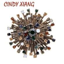 Broches de flores Vintage de diamantes de imitación para mujer de 2 colores de CINDY XIANG, broche elegante, broches de Otoño de alta joyería de calidad