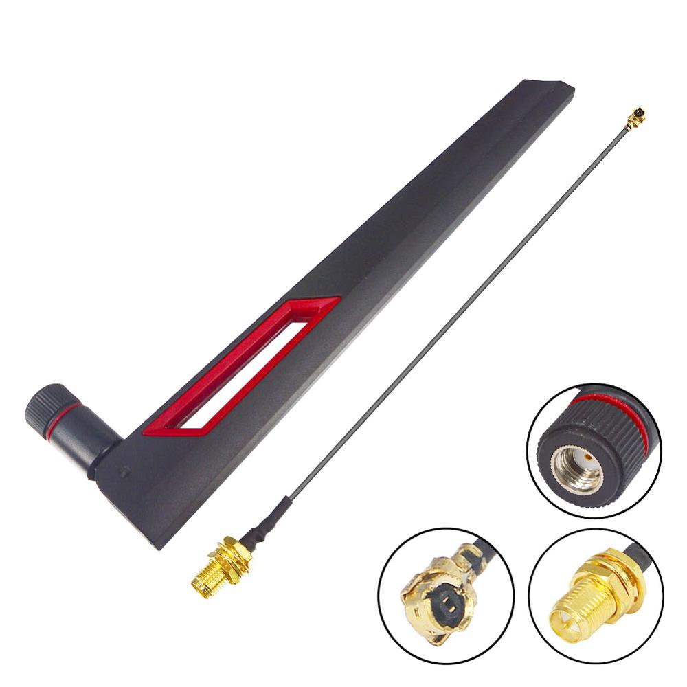 5 Piece/lot 12 Dbi Dual Band WIFI Antenna 2.4G 5g 5.8G RP SMA Male Antenne Booster + RP SMA To UFL IPX 1.13 WiFi Pigtail Cable