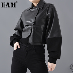 [EAM] Lose Fit Schwarz Pu Leder Asymmetrische Kurze Jacke Neue Revers Lange Hülse Frauen Mantel Mode Flut Frühjahr 2020 1H07901
