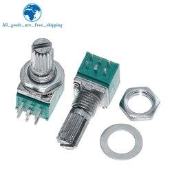 Amplificador de Audio de eje sellado de 15mm, potenciómetro de 6 pines RK097N B5K B10K B20K B50K B100K B500K, 5 uds.