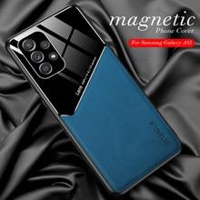 Para samsung a32 caso textura de couro caso do telefone do carro magnético para samsung galaxy a32 a 32 a32 a326f à prova de choque capa traseira coque