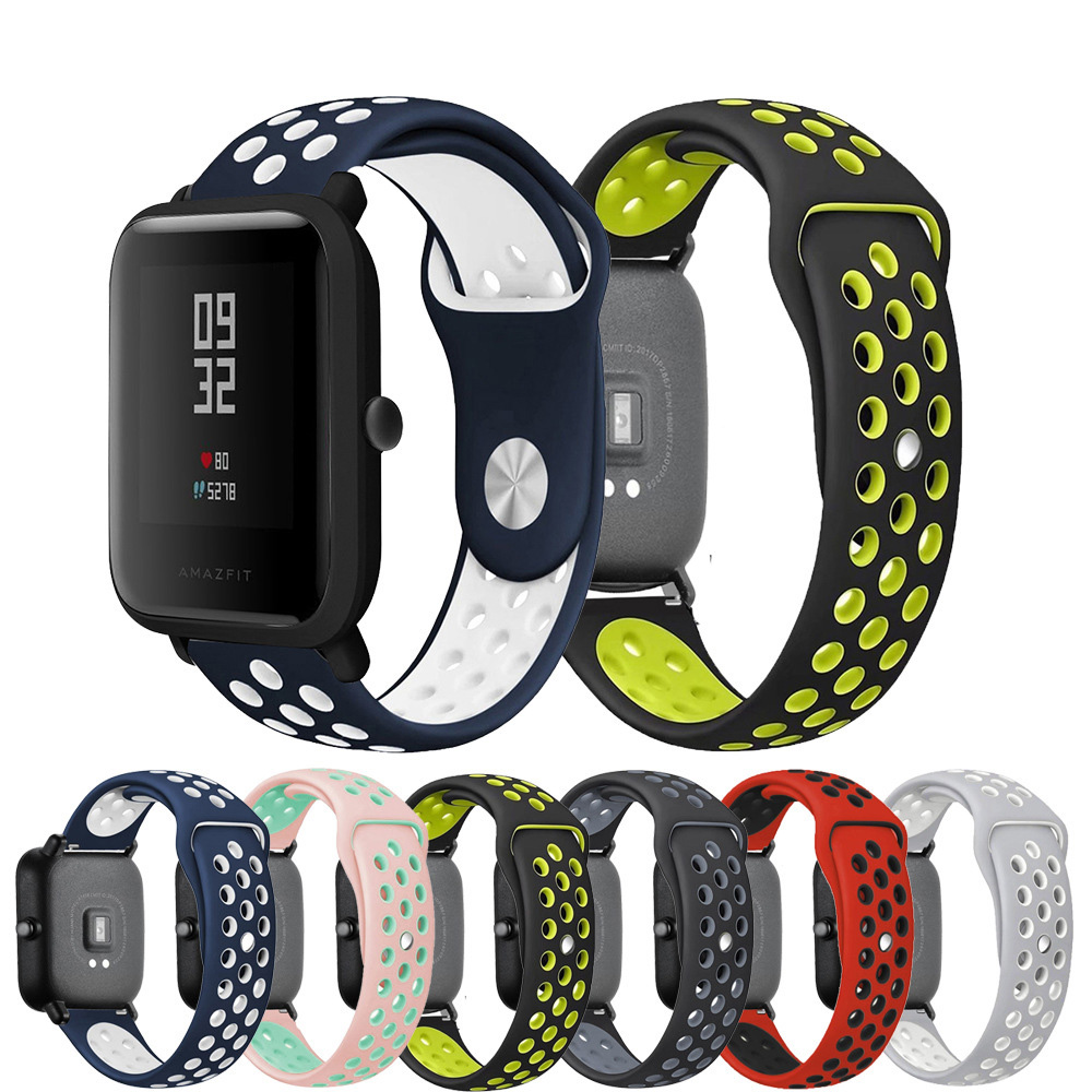 20mm 22mm Double Color Watchband For Xiaomi Huami Amazfit Bip Youth Strap Sport Silicone Band For Amazfit Watch1/2/Galaxy Watch