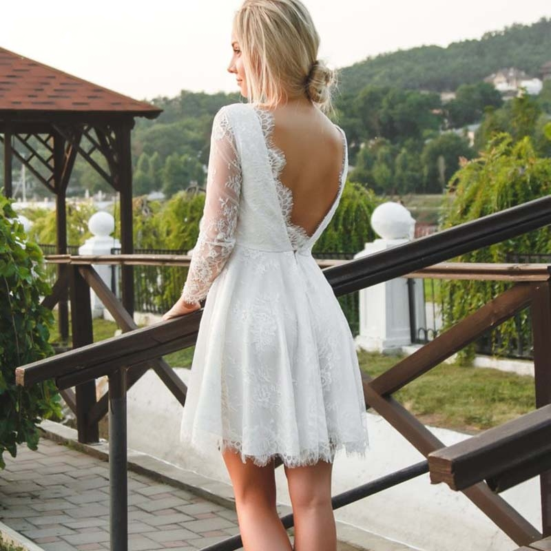 Vestidos de Noiva Sexy Backless Short Beach Wedding Dresses A Line Full Lace Sheer Long Sleeve Summer Bohemian Boho Bridal Gowns in Wedding Dresses from Weddings Events