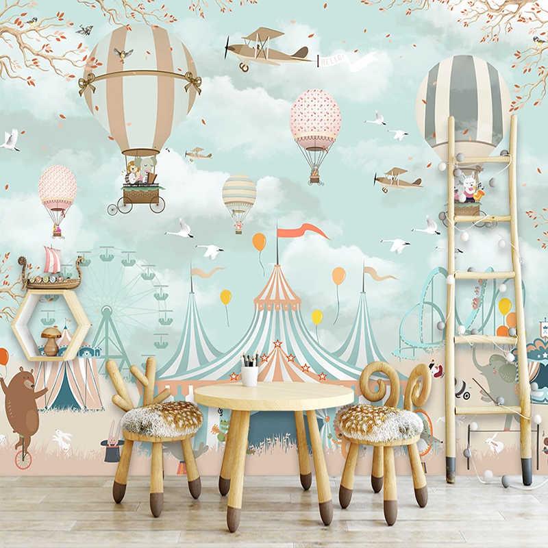 Niestandardowe 3D Mural tapety romantyczny Cartoon balon na gorące powietrze dzieci pokój sypialnia ściana tła tapeta dekoracyjna malowidła
