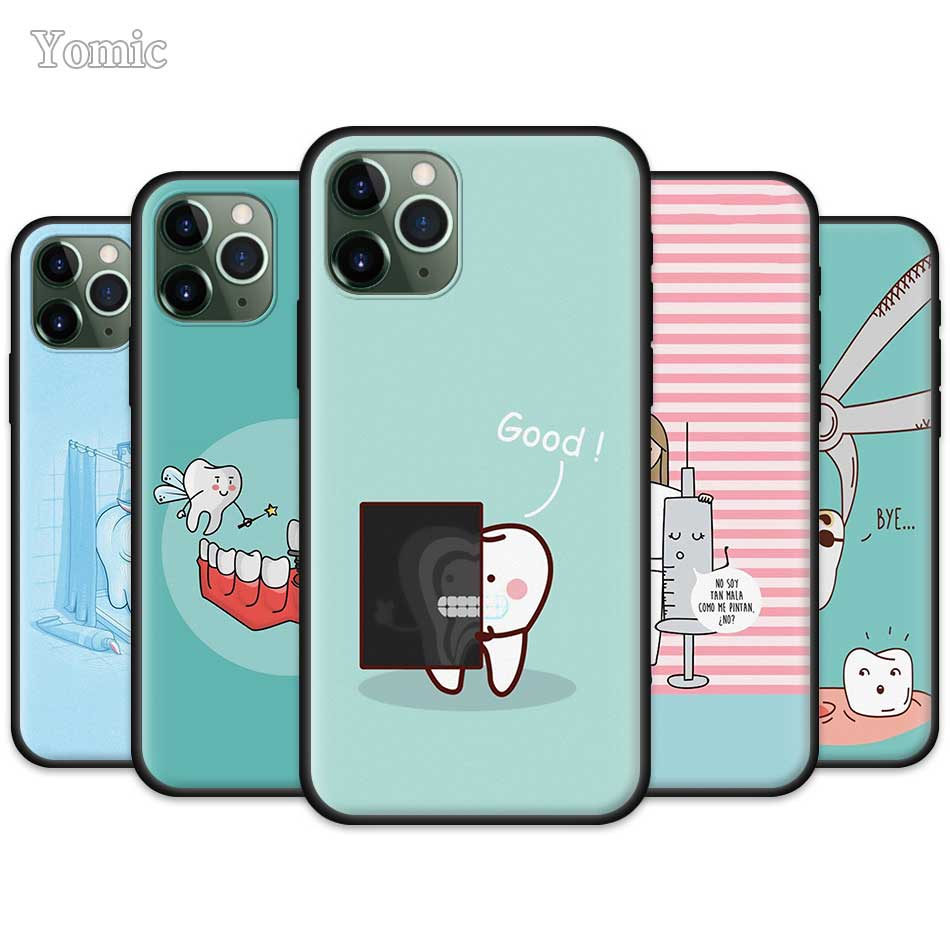 Cute Wisdom Teeth Dentist Tooth Case For Apple IPhone 11 Pro XR X XS MAX 7 8 6 6S Plus 5 5S SE Black Silicone Soft Phone Cover S