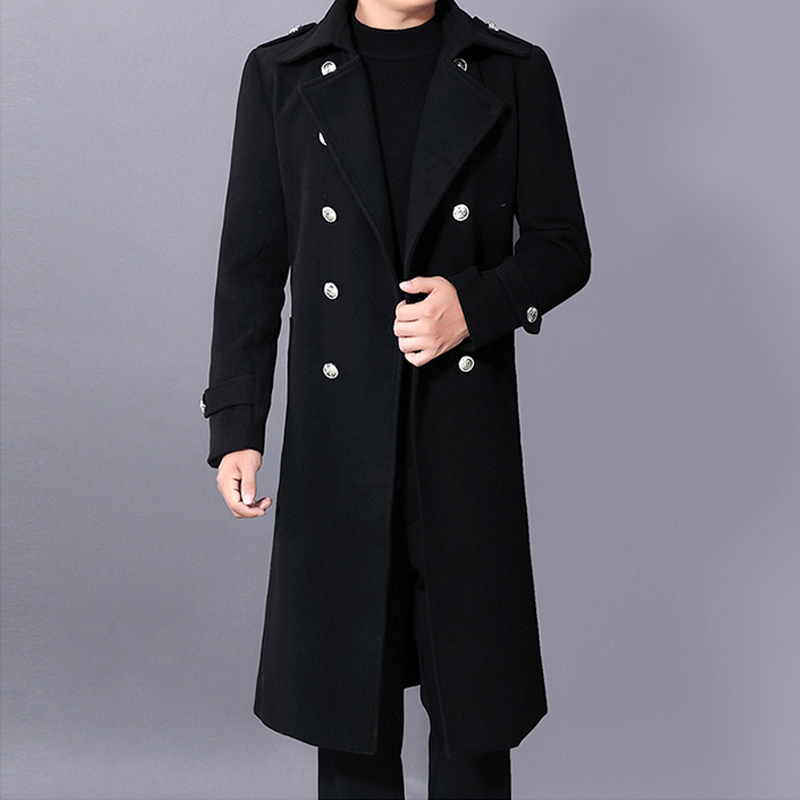 Men's Long Sleeve Trench Coat Warm Thicken Jacket Fashion Mens Winter Double Breasted Slim Woolen Long Overcoat Tops