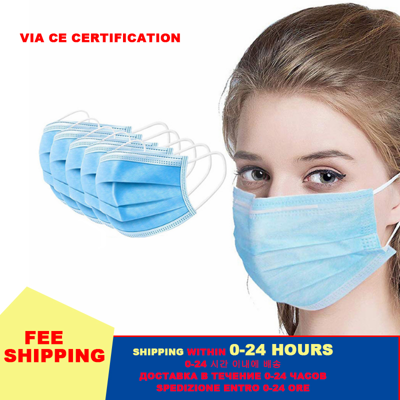 50/20/100pcs Face Mouth Anti Virus Mask Disposable Protect 3 Layers Filter Dustproof Earloop Non Woven Mouth Masks 48 Hours