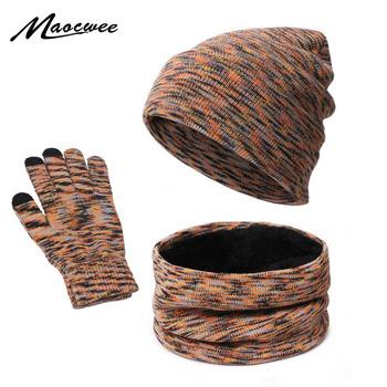 Czapka zimowa dla mężczyzn kobiety kapelusz szalik zestaw rękawiczek s Warm Plus aksamitna czapka z dzianiny szalik grube rękawiczki do ekranów dotykowych zestaw rękawiczek Skullies czapki tanie i dobre opinie MAOCWEE CN (pochodzenie) WOMEN Z wełny COTTON Akrylowe Dla dorosłych Moda 20cm 28inch Szalik Kapelusz i rękawiczki zestawy
