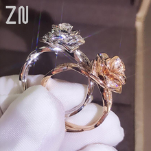 ZN Rose Gold Rings Flower Crystal Wedding Band Rings For Women Promise Engagement Rings Charms Jewelry Gift Factory Price zn new white crystal lace rings for women wedding engagement party beautiful rings rose gold fashion jewelry gift