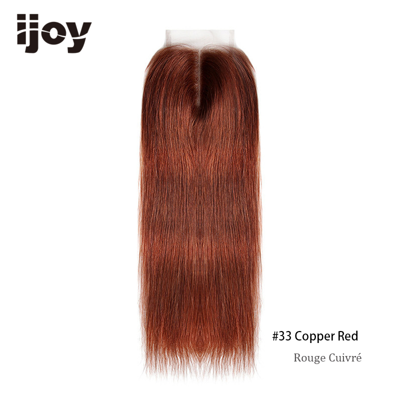 Image 5 - Brazilian Closure With Color Human Hair 4x4 Lace Blonde Closure Red 8 20 Non Remy 99J Closure Straight Hair Extension IJOYClosures   -