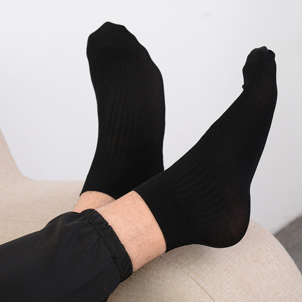 5 Pairs Winter Men/'s Cotton Short Bamboo Fiber Solid Socks Middle Stockings Deco