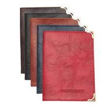 Étui vintage en cuir PU protège-documents, unisexe, couleur unie pour protection de permis de conduire et carte de crédit