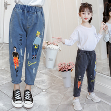 2019 Fashion Cartoon Jeans for Girls Teenage Children Elastic Waist Denim Pants Kids Trousers Clothes 4-13T