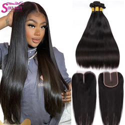 SoulLady Brazilian Straight Bundles With Closure Sale Preplucked 4x4 Lace Closure with Bundles Soft Remy Human Hair With Closure