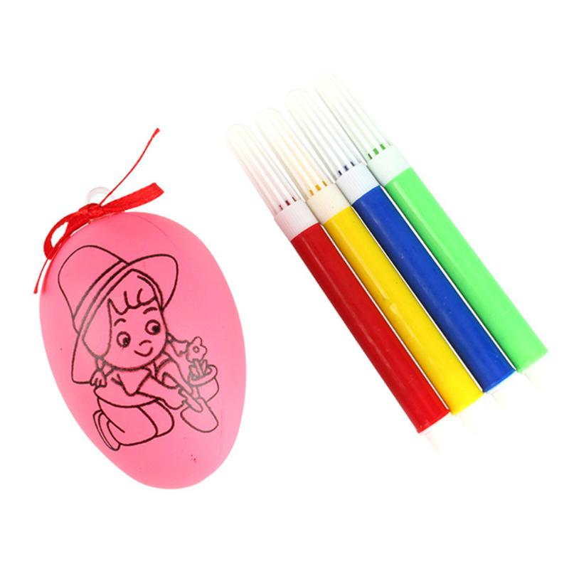 Easter Eggs Children DIY Craft Easter Egg With Watercolor Pens Ornament Hand Painted Easter Decorative Toys Girl Boys Craft Toys