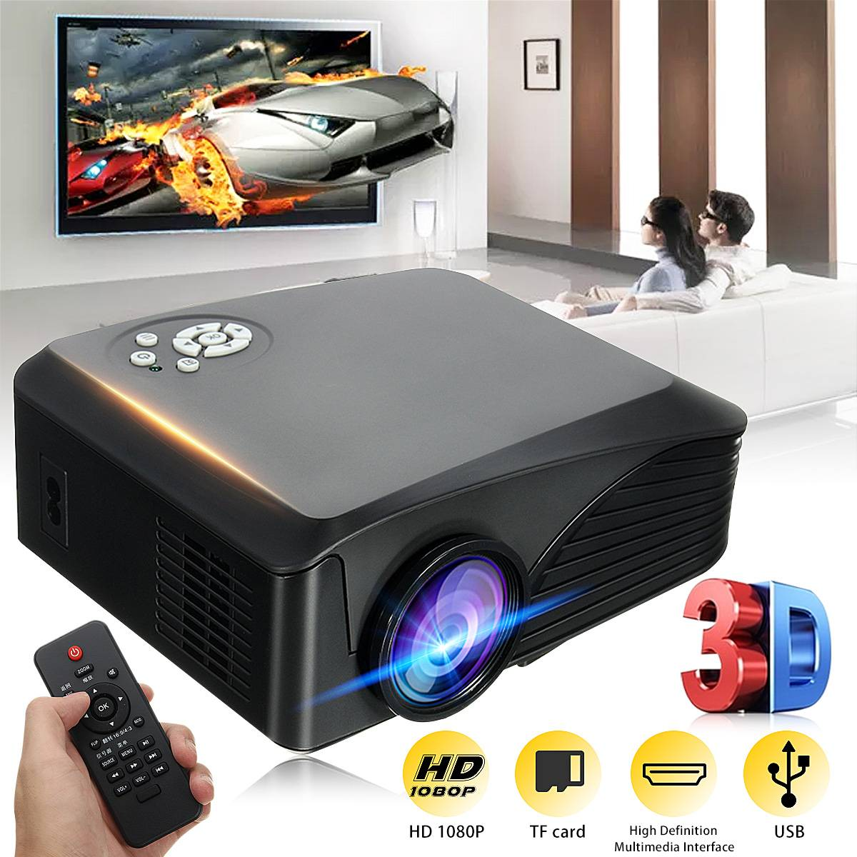 LEORY BP-M400 1080P HD <font><b>7000</b></font> <font><b>Lumens</b></font> 3D LED Projector Multimedia Cinema Theater USB AV TV image