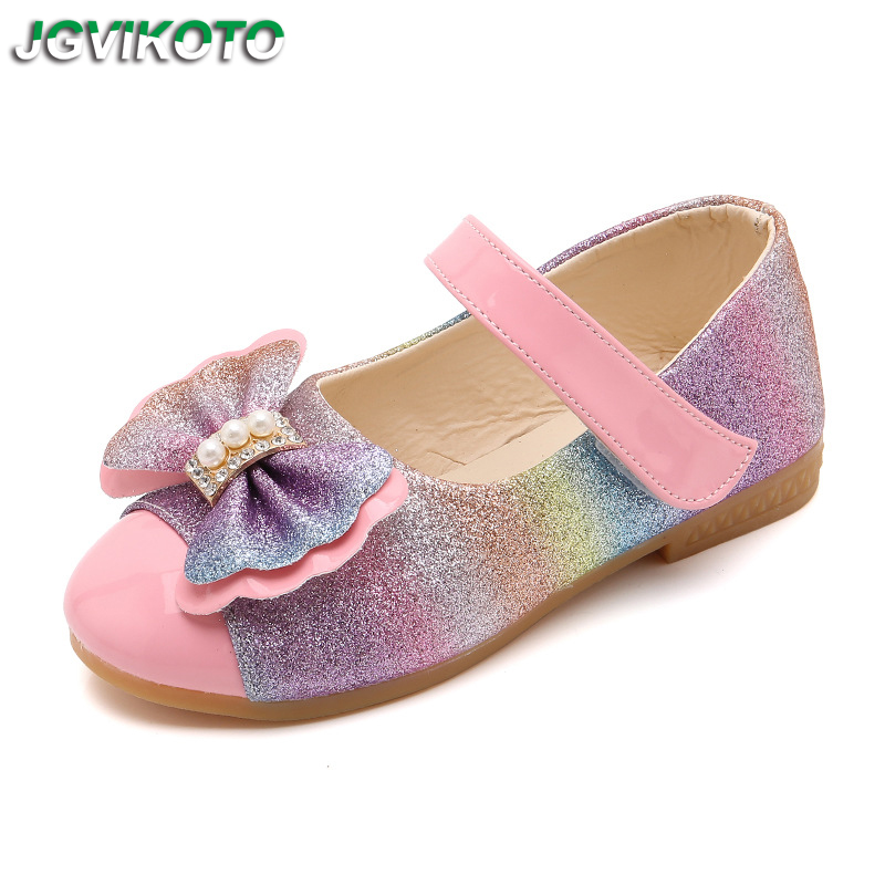 Baby Girl Leather Shoes Little Kids Big Children Princess Flat Shoes Rainbow Color Bow-knot With Rhinestone Sweet Soft 21-36 New