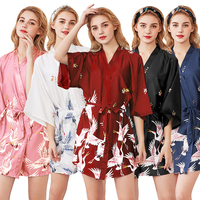 AEOZRING Sexy Women's Silk Pajama Bridesmaid robes Sleepwear printing Silk Nightwear Robe bathrobe Set