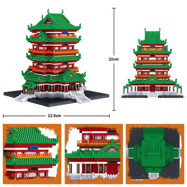 City Creator Famous Architecture Mini Bricks Tengwang Pavilion Yueyang Tower Model Diamond Building Blocks Toy for Children