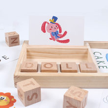 Matching Blocks Wooden Letters Cognitive Early Learning Children Educational Toy Alphabet English Word Funny Cards Spelling Game(China)