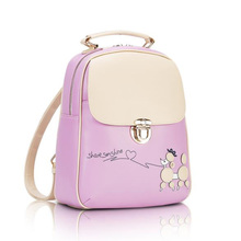 High Quality Ladies Backpack PU Leather Cartoon Puppy Pattern New Trend Female Student Bag Fashion Cute Backpacks
