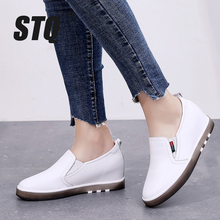 STQ Autumn Women Flat Loafers Shoes Women Genuine Leather Loafers Shoes Ladies Comfort Shoes Female Casual Sneakers 1299