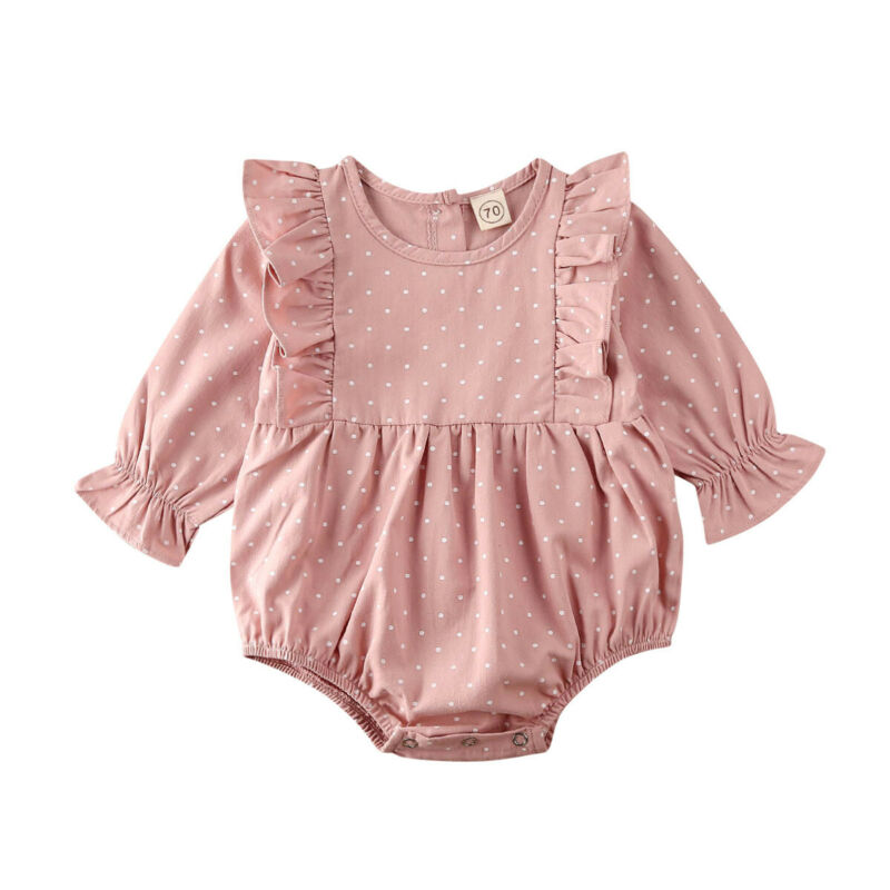 0-24M Newborn Toddler Baby Girls Bodysuits Clothes Lace Polka Print Bodysuit Jumpsuit Infant Outfit