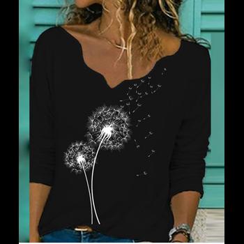 Dandelion Letters Print Casual Shirts Women Elegant V Neck Long Sleeve Autumn Blouse Streetwear Women Tops AT0007 ethnic plunging neck long sleeve print blouse for women