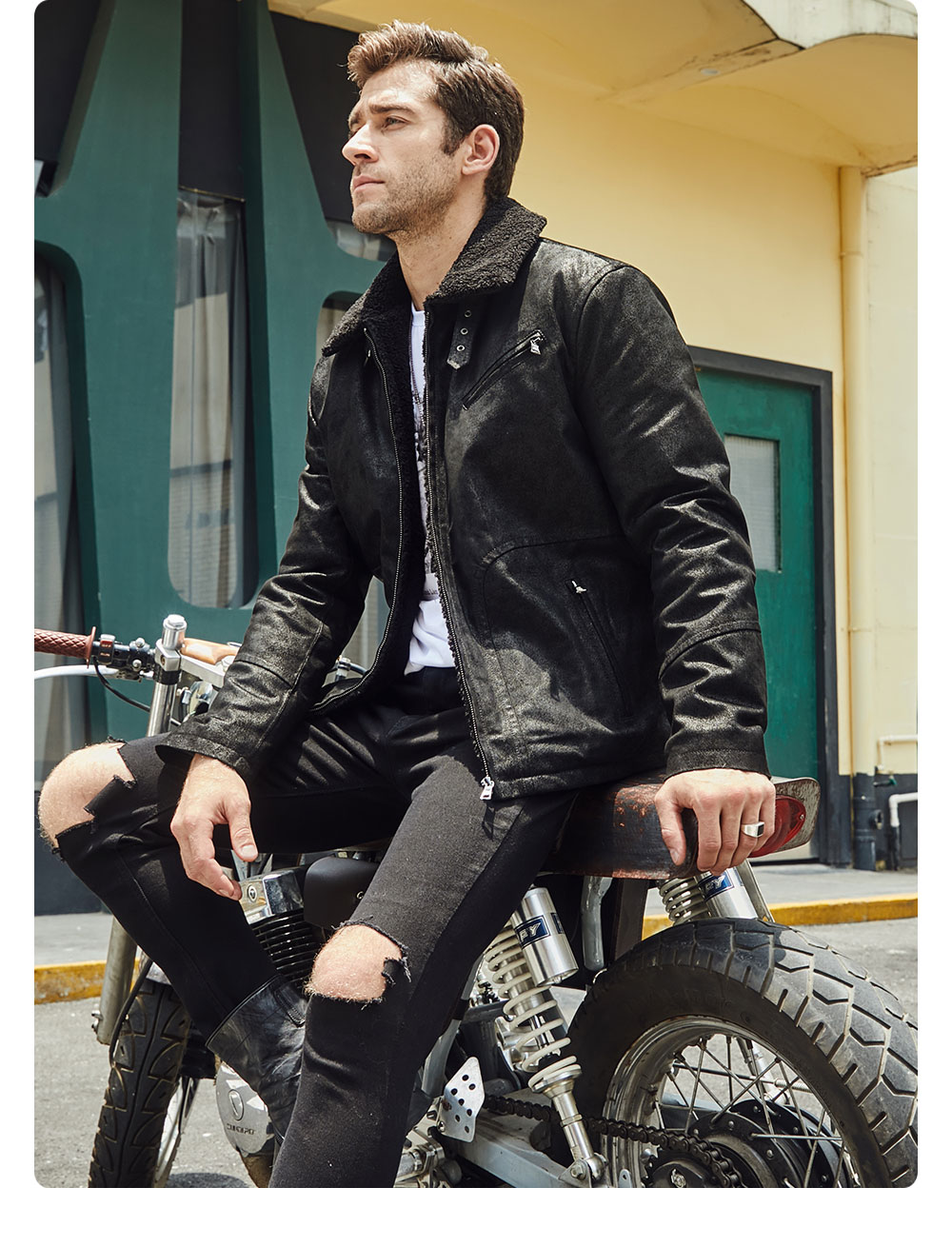 H67aef8c1289c43d186bedc40fd723555l FLAVOR New Men's Genuine Leather Motorcycle Jacket Pigskin with Faux Shearling Real Leather Jacket Bomber Coat Men